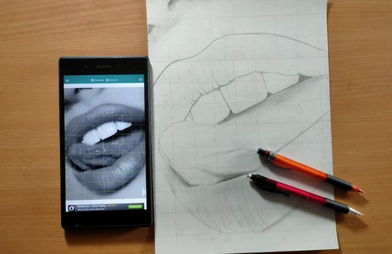 How to draw lips outlines using Grid Method