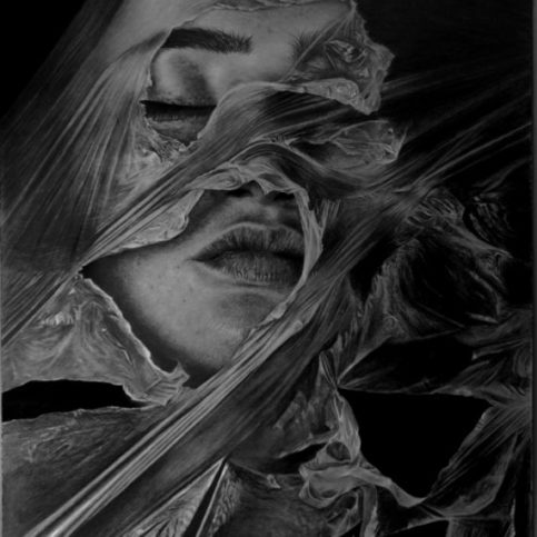 Hyper realistic drawing girl with plastic
