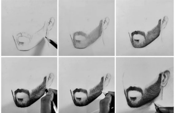 How to draw short Beard, Step by step tutorial