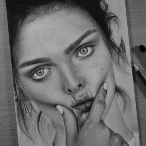 Hyper realistic sketch of girl model