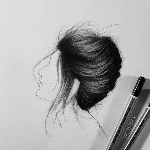 Long hair drawing : Female