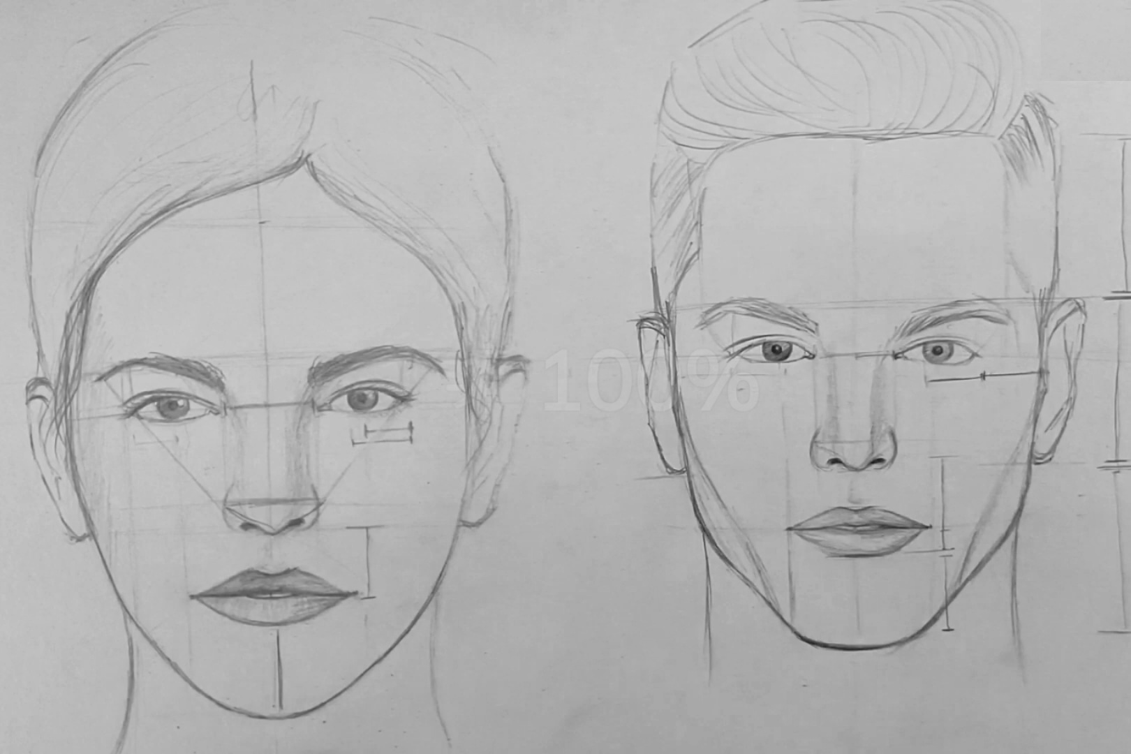 How to draw a face 10 Minutes : Male & Female