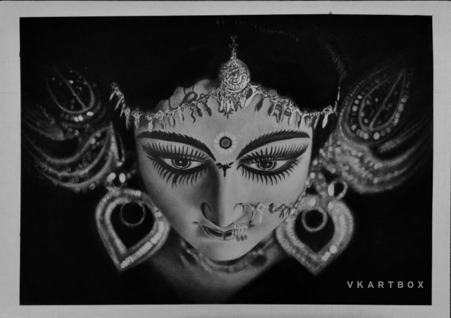Durga maa pencil drawing